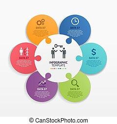 template., vector, illustrations., círculo, rompecabezas, infographics, rompecabezas