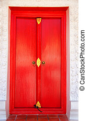 temple., tailandés, puerta, rojo, iglesia