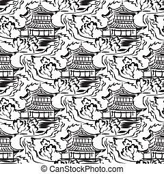 Templo asiático sin costura