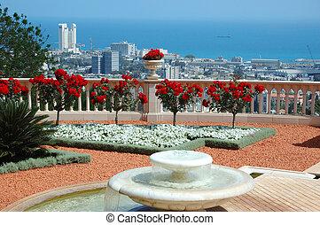 templo, haifa, terraza, israel, vista, bahai, jardín