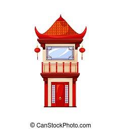 templo, hogar, linternas, pagoda, aislado, edificio