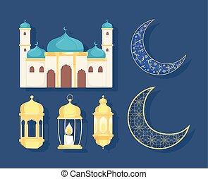 templo, linternas, árabe