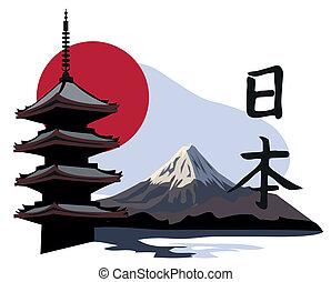 templo, pagoda, fuji
