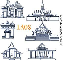 Templos Laotianos delgados iconos de línea para el diseño de viajes