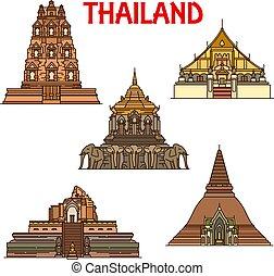 Templos tailandeses y iconos stupas. Un hito de viaje