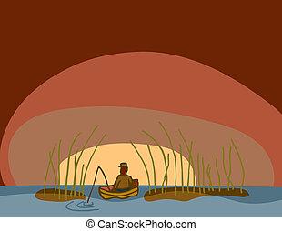 temprano, pesca, mañana