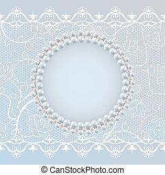 Tendencia para el saludo de boda o tarjeta de invitación con encaje y marco de perlas