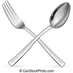 tenedor, cruzado, spoon.
