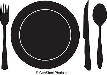 tenedor, cuchara, vector, plato, cuchillo