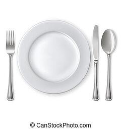 tenedor, placa, cuchillo, cuchara