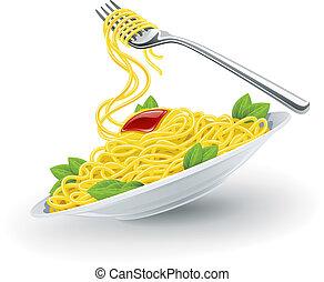 tenedor, placa, pastas, italiano