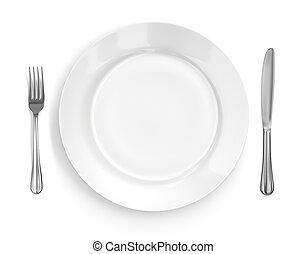 tenedor, placa, y, ajuste, lugar, cuchillo