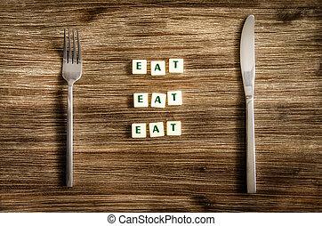 tenedor, refrán, conjunto, de madera, señal, cuchillo, comer, tabla