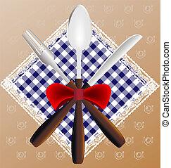 tenedor, servilleta, cuchillo, cuchara