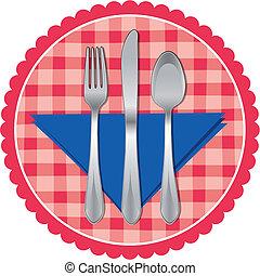 tenedor, y, cuchara, tela, cuchillo de mesa