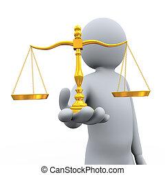 tenencia, balance, 3d, hombre, escala