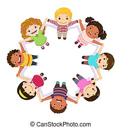 tenencia, círculo, manos, niños