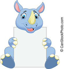tenencia, caricatura, lindo, rinoceronte, blanco, si