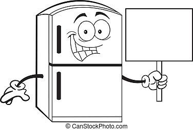 tenencia, caricatura, refrigerador, señal