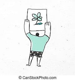 tenencia, caricatura, vector, flor, hombre, icono