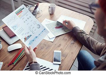 tenencia, empresa / negocio, gráfico, analista, datos, moderno