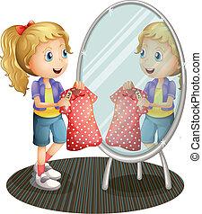 tenencia, espejo, frente, niña, vestido, rojo