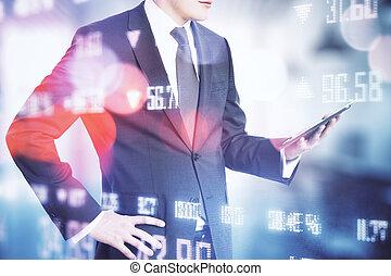 tenencia, estadística, hombre de negocios, empresa / negocio, tableta