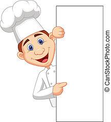 tenencia, feliz, chef, blanco, caricatura, si