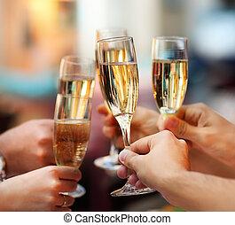 tenencia, gente, anteojos, champaña, celebration.