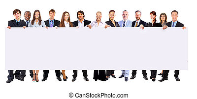 tenencia, gente, bandera, empresa / negocio, plano de fondo, longitud, aislado, lleno, fila, muchos, blanco, blanco