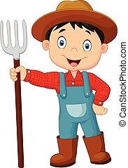 tenencia, granjero, joven, caricatura, rastrillo