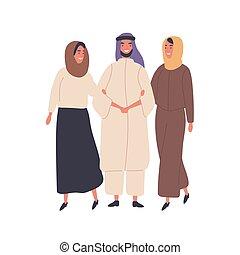 tenencia, matrimonio, ropa, dos, caricatura, mujeres, musulmán, hombre, islámico, nacional, debajo, concept., gente, tradición, characters., poligamia, vector, illustration., características, brazos, plano, familia , cultura, hijab