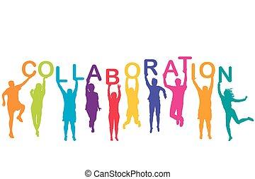 tenencia, siluetas, colaboración, hombres, colorido, mujeres, su, manos, palabra