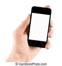 Teniendo el móvil en mano