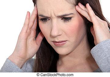 tensión, mujer, dolor de cabeza