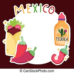 tequila, alimento, chile, plantilla, tradicional, cultura, pimienta, etiqueta, burrito, méxico
