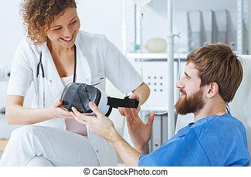 Terapeuta usando tecnología virtual