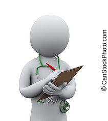Tercer doctor escribiendo historia clínica