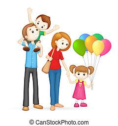 Tercera familia feliz en vector