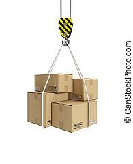 Tercera ilustración: transporte de carga, gancho de grúa y cajas de cartón