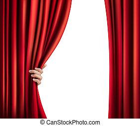 terciopelo, mano., ilustración, vector, plano de fondo, cortina, rojo