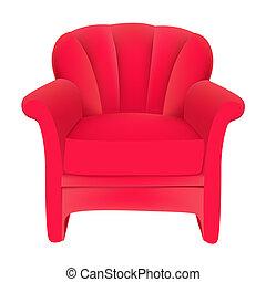terciopelo, plano de fondo, silla, rojo, fácil, blanco