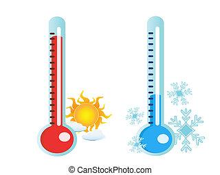 Termómetro en temperatura caliente y fría