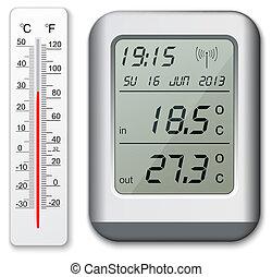 termómetro, normal, digital
