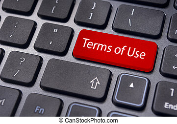Termas de uso, mensaje en el teclado