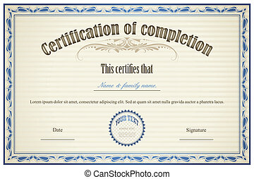 terminación, certificado