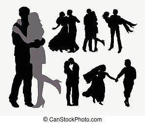 ternura, amor, silhouet, pareja