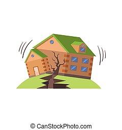 terremoto, natural, amenaza, fuerzas, huse