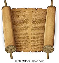 texto, antiguo, rollosde papel