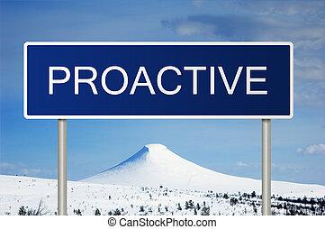texto, camino, proactive, señal